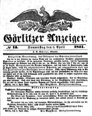 Görlitzer Anzeiger vom 08.04.1841