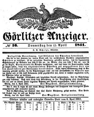 Görlitzer Anzeiger vom 15.04.1841