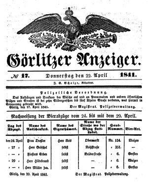 Görlitzer Anzeiger vom 22.04.1841