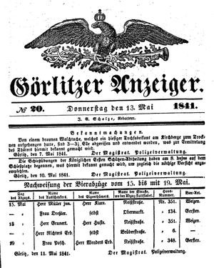 Görlitzer Anzeiger vom 13.05.1841