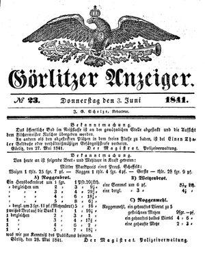 Görlitzer Anzeiger vom 03.06.1841