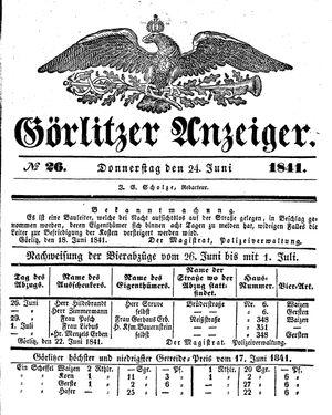 Görlitzer Anzeiger vom 24.06.1841
