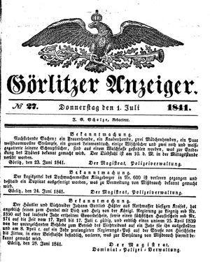 Görlitzer Anzeiger vom 01.07.1841