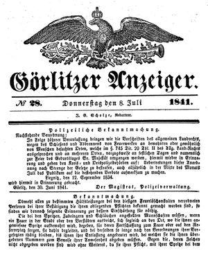 Görlitzer Anzeiger vom 08.07.1841