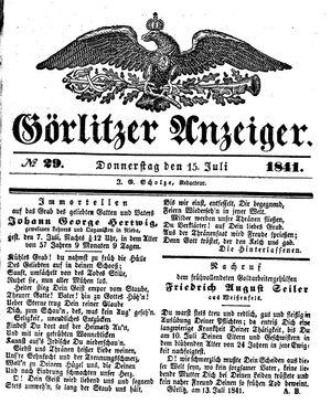 Görlitzer Anzeiger vom 15.07.1841