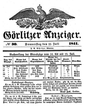 Görlitzer Anzeiger vom 22.07.1841