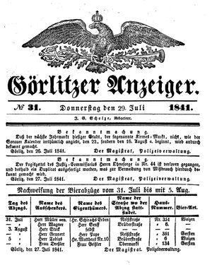 Görlitzer Anzeiger vom 29.07.1841
