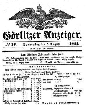 Görlitzer Anzeiger vom 05.08.1841