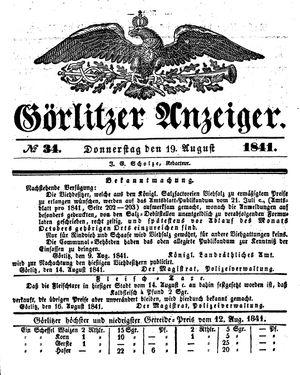 Görlitzer Anzeiger vom 19.08.1841