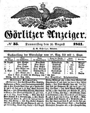 Görlitzer Anzeiger vom 26.08.1841