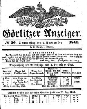 Görlitzer Anzeiger vom 02.09.1841
