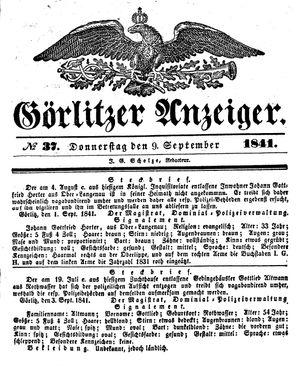 Görlitzer Anzeiger vom 09.09.1841
