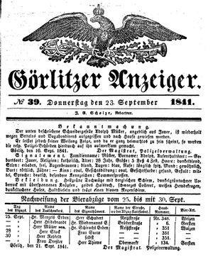 Görlitzer Anzeiger vom 23.09.1841