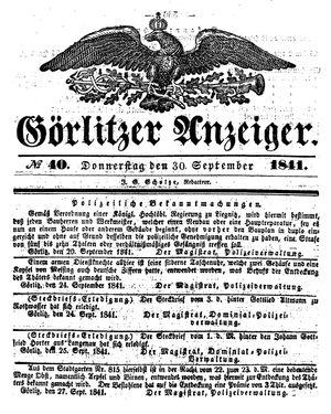 Görlitzer Anzeiger vom 30.09.1841