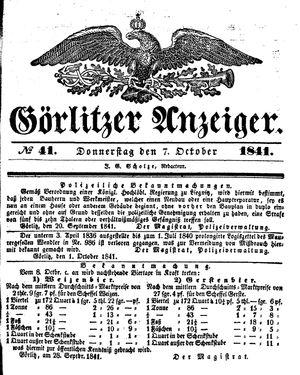 Görlitzer Anzeiger vom 07.10.1841