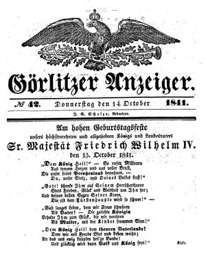 Görlitzer Anzeiger vom 14.10.1841