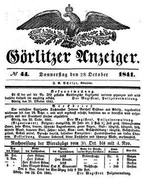 Görlitzer Anzeiger vom 28.10.1841