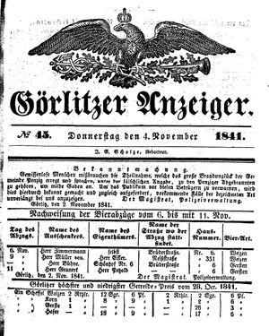 Görlitzer Anzeiger vom 04.11.1841