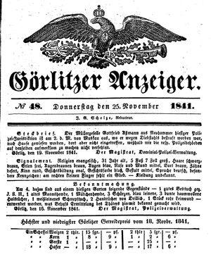 Görlitzer Anzeiger vom 25.11.1841