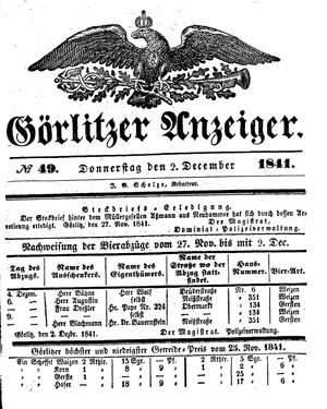 Görlitzer Anzeiger vom 02.12.1841