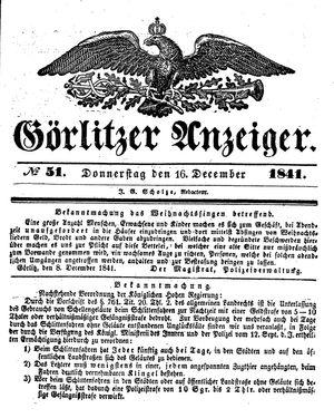 Görlitzer Anzeiger vom 16.12.1841
