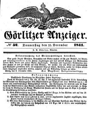 Görlitzer Anzeiger vom 23.12.1841