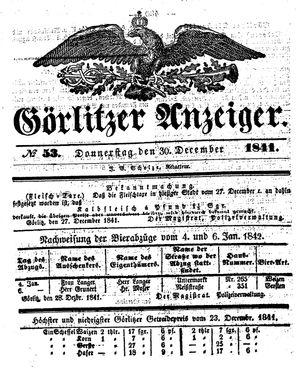 Görlitzer Anzeiger vom 30.12.1841