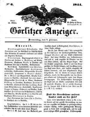 Görlitzer Anzeiger vom 08.02.1844