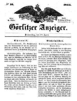 Görlitzer Anzeiger vom 18.04.1844