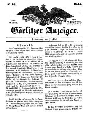 Görlitzer Anzeiger vom 09.05.1844