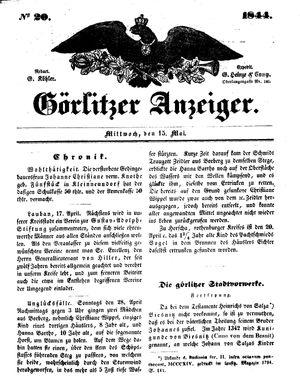 Görlitzer Anzeiger vom 15.05.1844