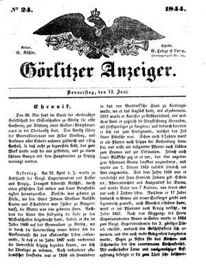 Görlitzer Anzeiger vom 13.06.1844