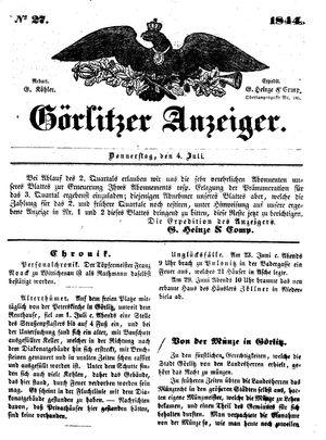 Görlitzer Anzeiger vom 04.07.1844