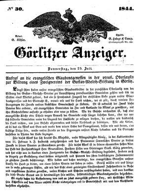 Görlitzer Anzeiger on Jul 25, 1844