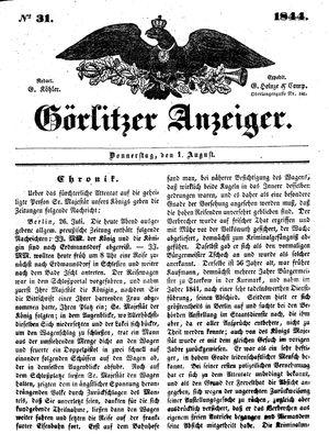 Görlitzer Anzeiger vom 01.08.1844