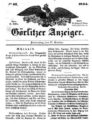 Görlitzer Anzeiger vom 17.10.1844