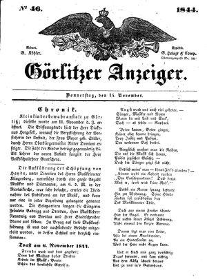 Görlitzer Anzeiger vom 14.11.1844