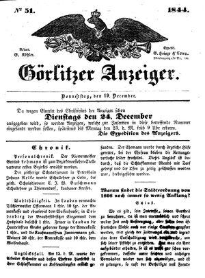 Görlitzer Anzeiger vom 19.12.1844