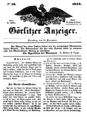 Görlitzer Anzeiger vom 24.12.1844