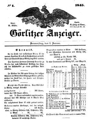 Görlitzer Anzeiger vom 02.01.1845