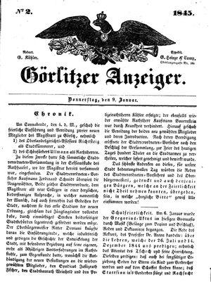 Görlitzer Anzeiger vom 09.01.1845
