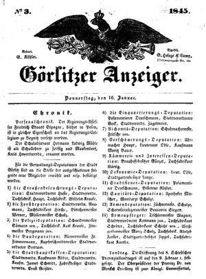 Görlitzer Anzeiger vom 16.01.1845