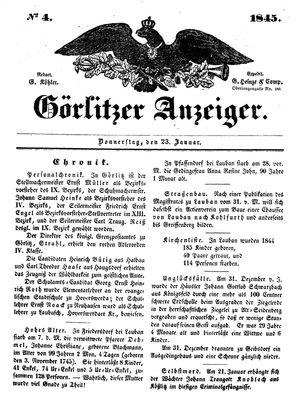 Görlitzer Anzeiger vom 23.01.1845