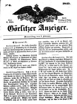 Görlitzer Anzeiger vom 06.02.1845