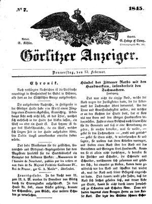 Görlitzer Anzeiger vom 13.02.1845