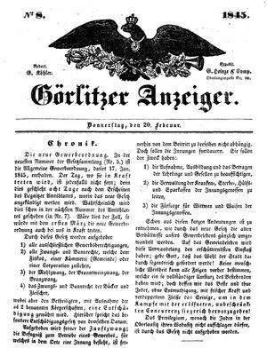 Görlitzer Anzeiger vom 20.02.1845