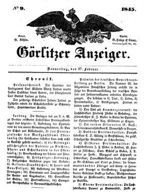 Görlitzer Anzeiger vom 27.02.1845