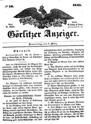 Görlitzer Anzeiger vom 06.03.1845