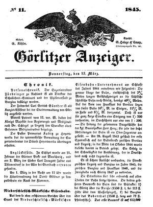 Görlitzer Anzeiger vom 13.03.1845