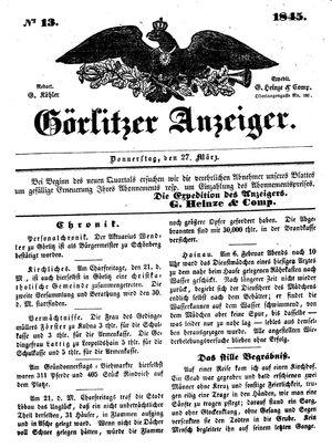 Görlitzer Anzeiger vom 27.03.1845